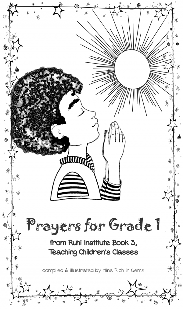 Ruhi Book 3 Grade 1 Prayer Book cover little boy praying with sun